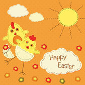 Easter background with stylized chicks — Stock Vector