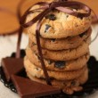 Pile of chocolate chip cookies — Stock Photo