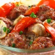 Close up meatballs in a glass pen — Stock Photo #9835817