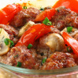 Close up meatballs in a glass pen - Stock Photo