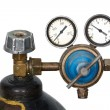 Stock Photo: Gas pressure regulator with manometer (isolated)