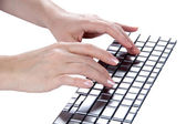 Female hands typing (isolated) — Stock Photo