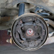 Old brake pads and cylinder brake drum - Stock Photo
