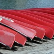 Stock Photo: Canoes at Lake Louise