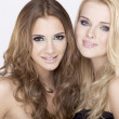 Two smiling girl friends - blond and brunette — Stock Photo #8011957