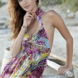 Beautiful brunette woman in romantic summer dress - Foto Stock
