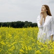 Brunette woman in a yellow flowers field - Foto de Stock
