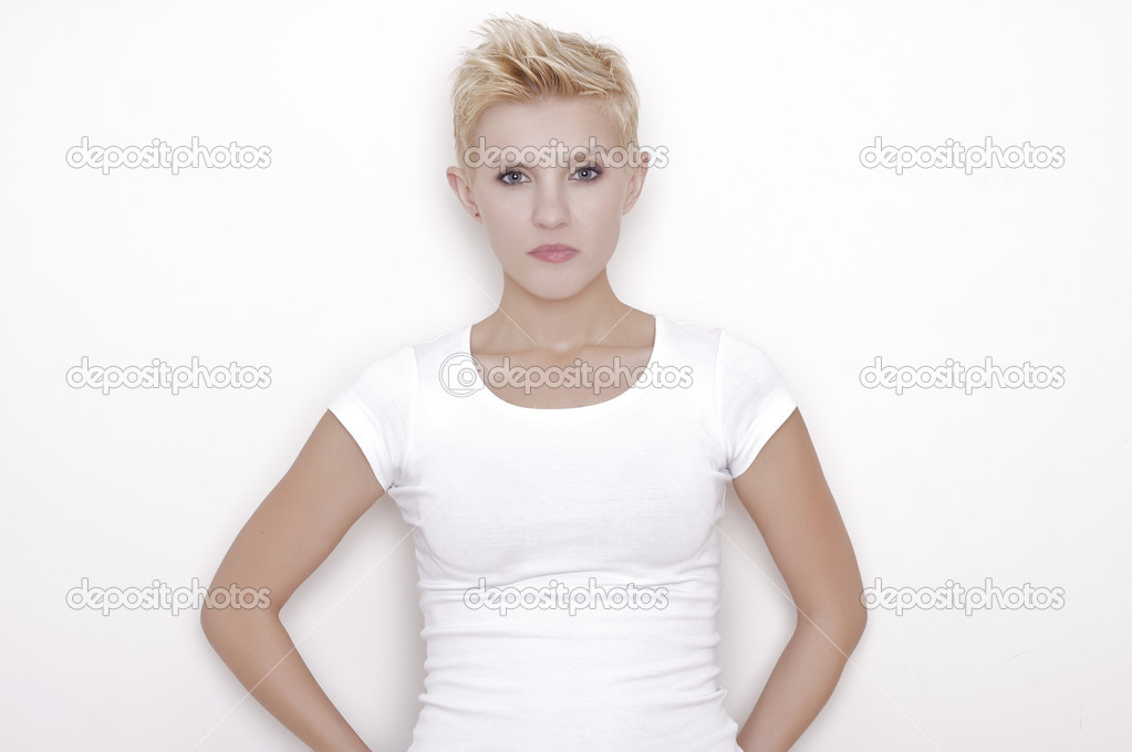 Young pretty woman with beautiful blond hairs and multicolor makeup isolated on white background — Stock Photo #8590402