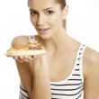 Young beautiful woman eat pizza — Stock Photo #8753349