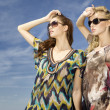 Two beautiful girl in sunglasses on background blue sky — Stock Photo #9050887