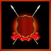 Red shield with spears and red ribbon — Stock Photo