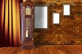 墙上的三个木制框架. — 图库照片