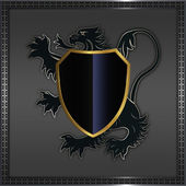 Heraldic lion and shield. — Stock Photo