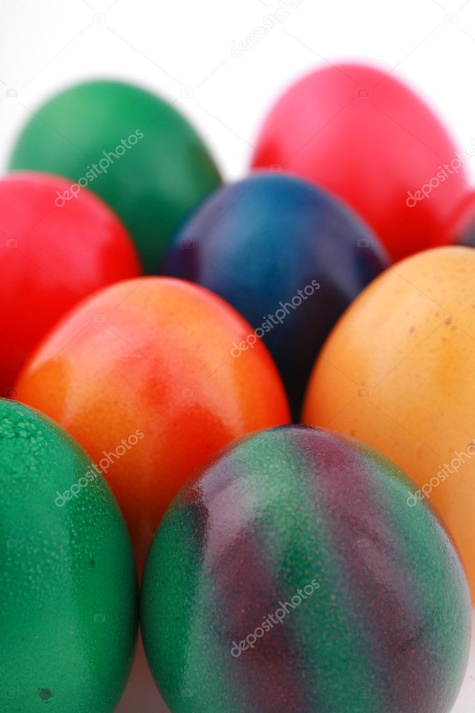 Colorful easter eggs isolated on white background — Stock Photo #10619961
