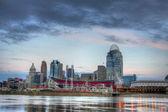 Cincinnati ohio skyline, morgon, — Stockfoto