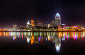 晚上天际线,辛辛那提,俄亥俄州编辑 — 图库照片