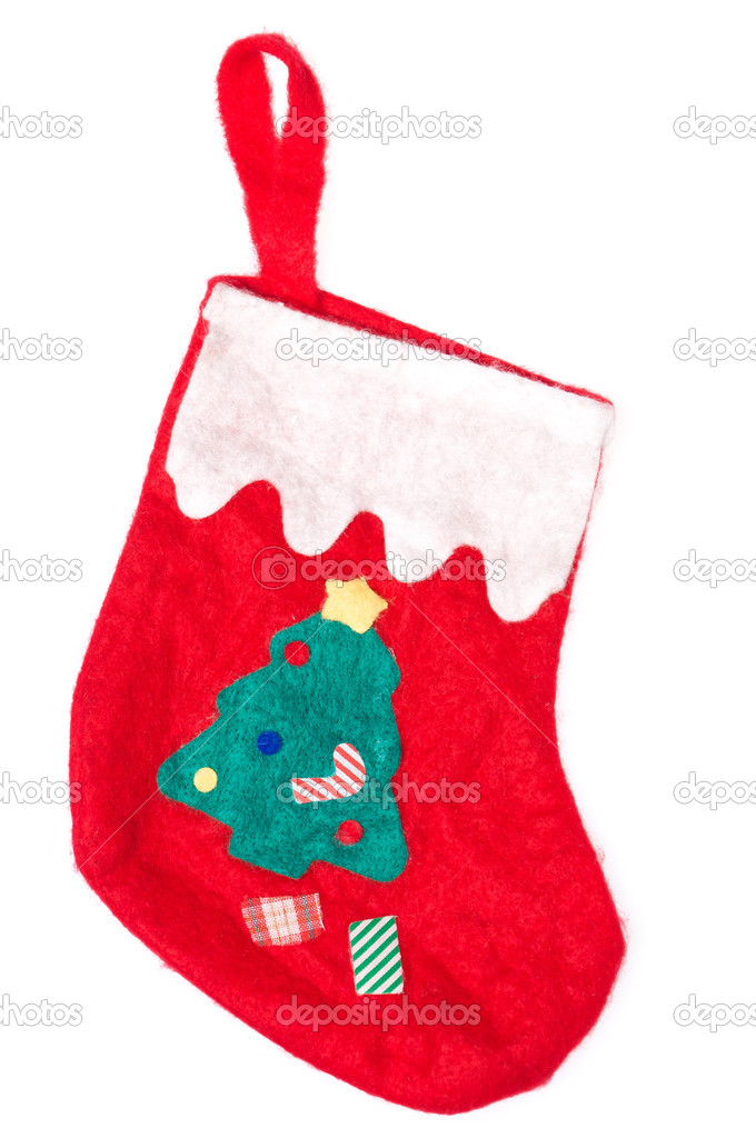 Christmas red sock isolated on white background. Green tree on it. — Stock Photo #8239743