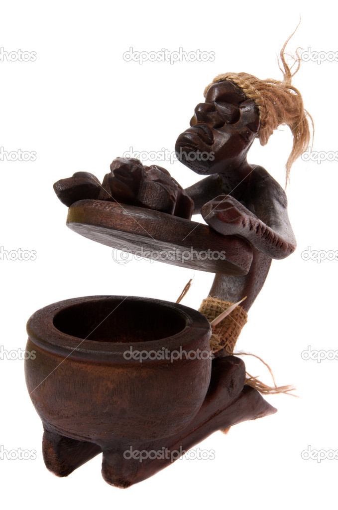 Wooden open ash tray like african shaman figurine isolated on white background. — Stock Photo #8518070