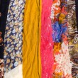 Стоковое фото: Colorful womscarves in row