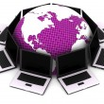 Computer network communicating — Stock Photo