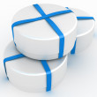 Gift box with a bow on white background — Stock Photo