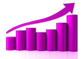 Growing bar chart from color blocks — Stock Photo