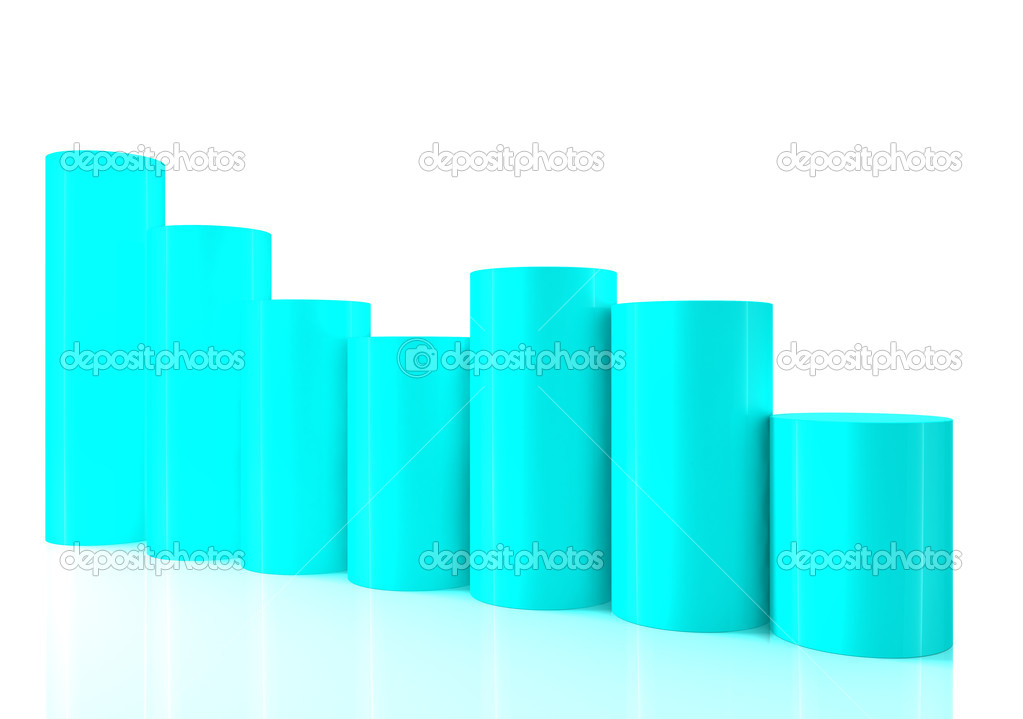 Falling bar chart from color blocks on white background — Stock Photo #10024762