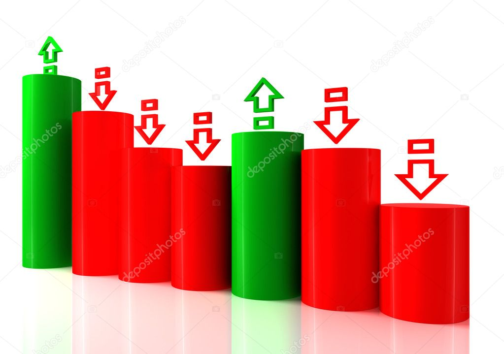 Falling bar chart from color blocks on white background — Stock Photo #10025159