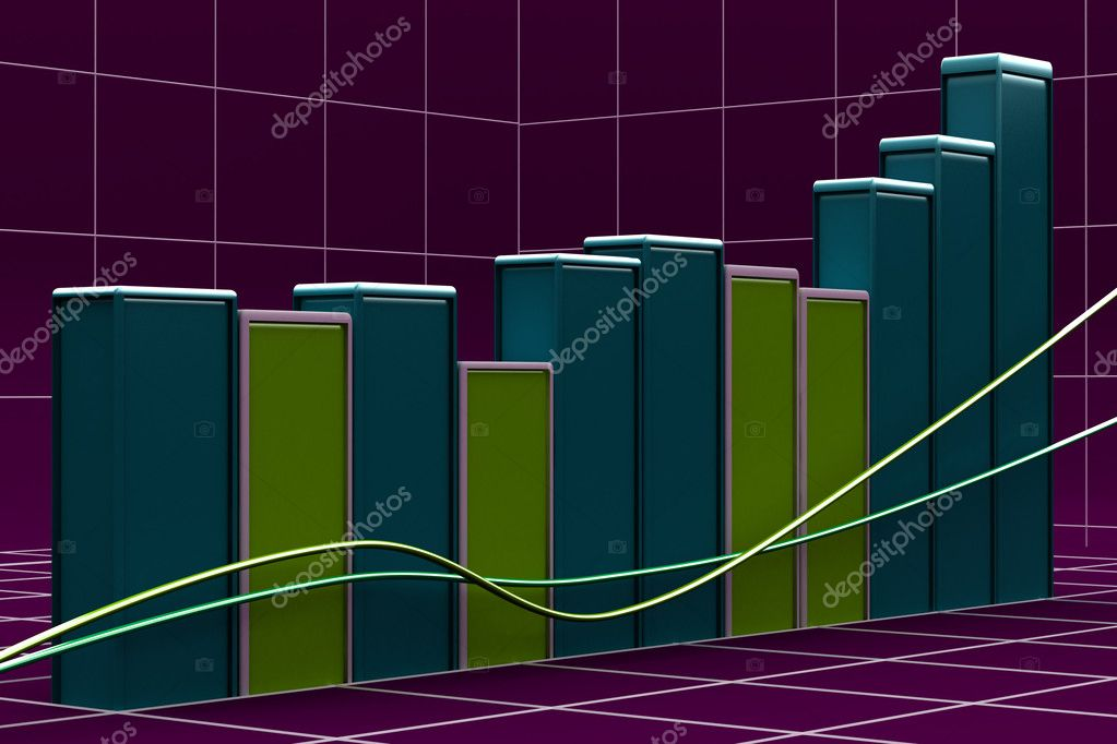 Growing bar chart from color blocks on white background — Stock Photo #10026541