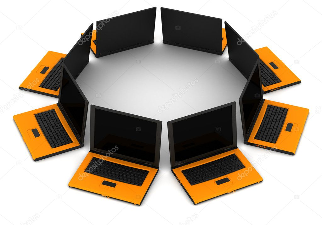 3D computer network communicating data each other — Stock Photo #10027744