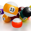 Colorful pool balls over white — Stock Photo