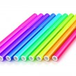 Bright markers on white — Stock fotografie