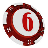 Poker chip font. 3D Rendered Casino Style. Letter 6 — Stock Photo
