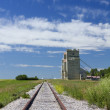 Rails and grain elevators — Stock Photo