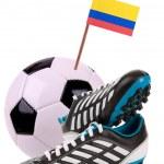 voetbal of de voetbal met een nationale vlag — Stockfoto