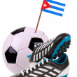 Soccer ball or football with a national flag — Photo