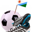 Soccer ball or football with a national flag — 图库照片