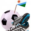 Soccer ball or football with a national flag — Lizenzfreies Foto