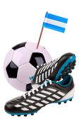 Fußball oder Fußball mit einer Nationalfahne — Stockfoto