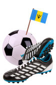 Soccer ball or football with a national flag — Stockfoto
