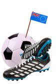 Futbol topu veya futbol ulusal bayrakla işaretle — Stok fotoğraf