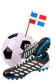 Fotbalový míč nebo fotbal s národní vlajkou — Stock fotografie