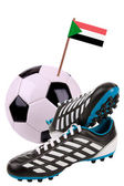 Piłki nożnej i piłki nożnej z flaga narodowa — Zdjęcie stockowe