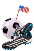 Bola de futebol ou futebol com uma bandeira nacional — Foto Stock