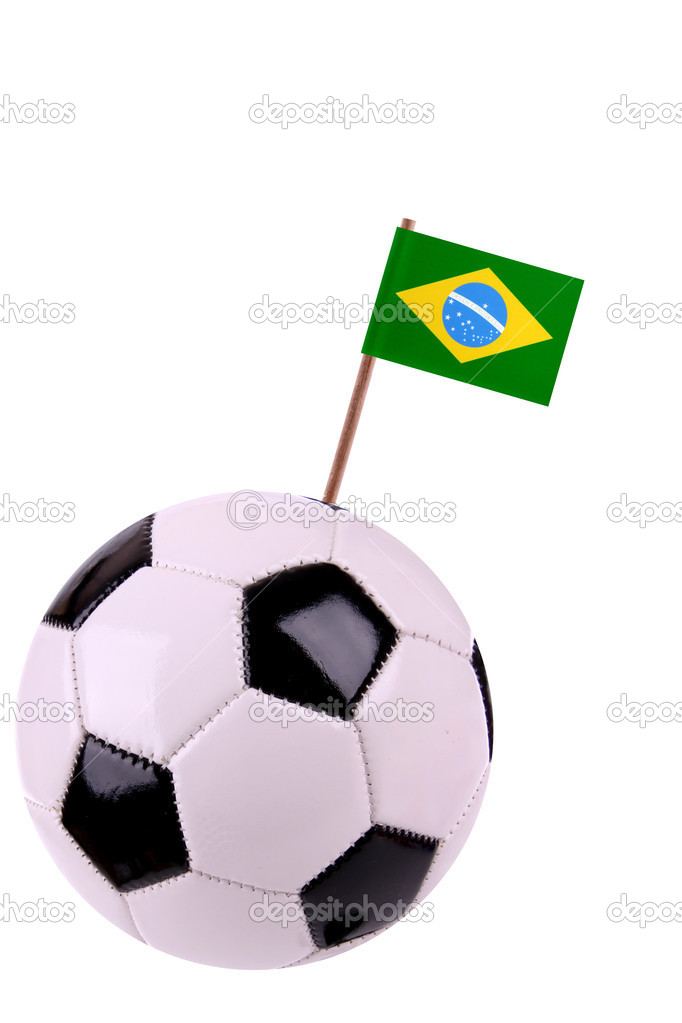 Soccerball or football decorated with a small national flag on a toothstick — Stock Photo #10372806
