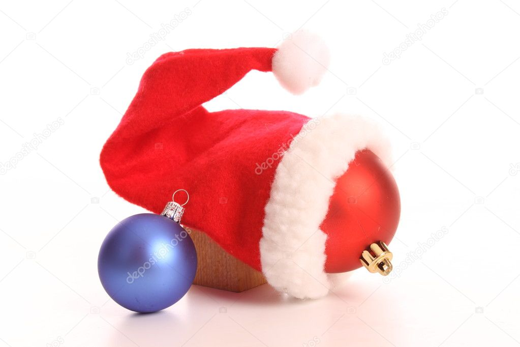 Christmas balls and Santa's on a white background  Stock Photo #8015937