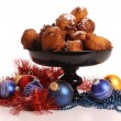 Stock Photo: dutch donuts called oliebollen