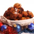 dutch donuts called oliebollen — Stock Photo
