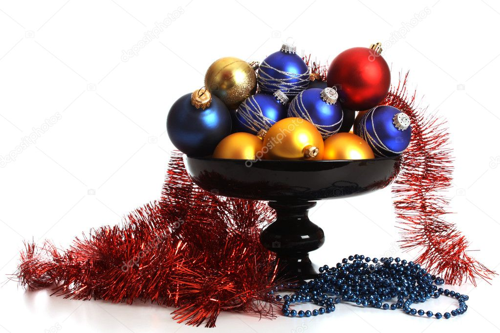 Christmas balls on a dish on a white background  Stock Photo #8061510