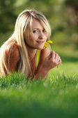 Enjoying outdoors with flowers — Stock Photo